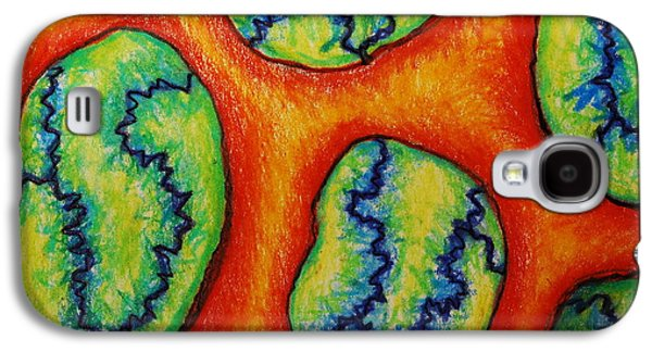 Colored Pencil Abstract Drawings Galaxy S4 Cases - Number 6 Galaxy S4 Case by Nancy Mueller
