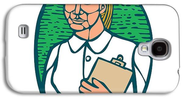 Linoleum Print Galaxy S4 Cases - Nurse Holding Clipboard Oval Woodcut Linocut Galaxy S4 Case by Aloysius Patrimonio