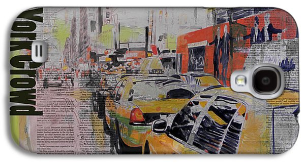 Cities Paintings Galaxy S4 Cases - NY City Collage 2 Galaxy S4 Case by Corporate Art Task Force