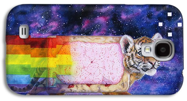 Milky Way Paintings Galaxy S4 Cases - NyanTiger NyanCat Two Point Oh Galaxy S4 Case by David Starr