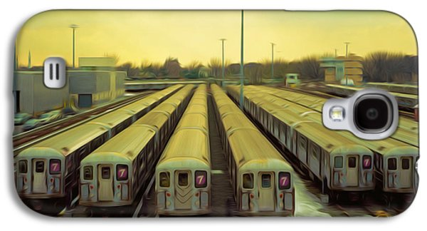 Component Paintings Galaxy S4 Cases - NYC subway cars Galaxy S4 Case by Lanjee Chee