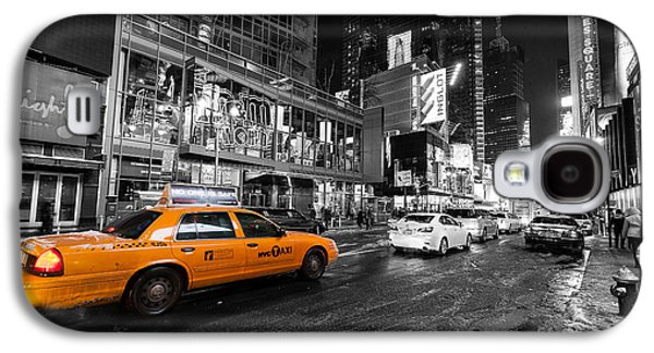 The New York New York Galaxy S4 Cases - NYC taxi times square color popped Galaxy S4 Case by John Farnan