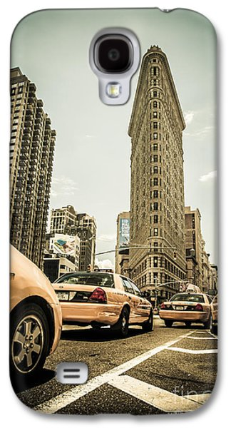 Flat Iron Galaxy S4 Cases - NYC Yellow cabs at the flat iron building - V1 Galaxy S4 Case by Hannes Cmarits