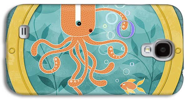 Aquatic Mixed Media Galaxy S4 Cases - O is for Oliver the Orange Octopus Galaxy S4 Case by Valerie   Drake Lesiak