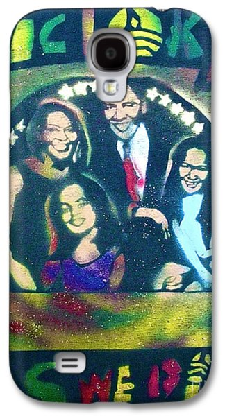 Michelle Obama Paintings Galaxy S4 Cases - Obama Family Victory Galaxy S4 Case by Tony B Conscious