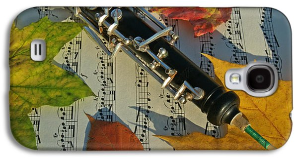 Autumn Leaf Galaxy S4 Cases - Oboe and Sheet Music on Autumn Afternoon Galaxy S4 Case by Anna Lisa Yoder