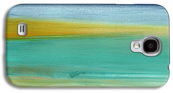 Yellow Line Galaxy S4 Cases - Ocean Blue 3- Art by Linda Woods Galaxy S4 Case by Linda Woods