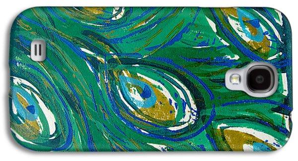 Linocut Paintings Galaxy S4 Cases - Ocean Peacock Galaxy S4 Case by Jennifer Schwab