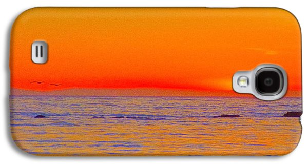 Dreamscape Galaxy S4 Cases - Ocean Sunset In Orange And Blue Galaxy S4 Case by Ben and Raisa Gertsberg