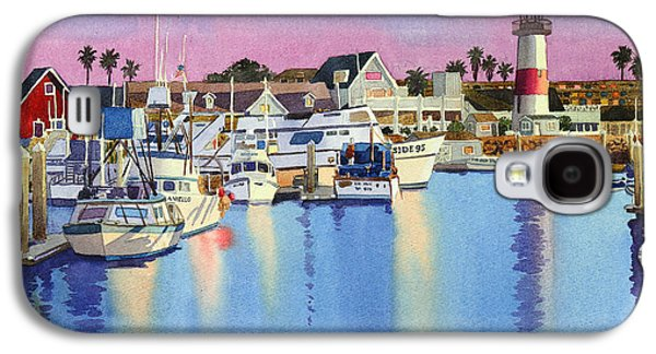 Harbor Paintings Galaxy S4 Cases - Oceanside Harbor at Dusk Galaxy S4 Case by Mary Helmreich