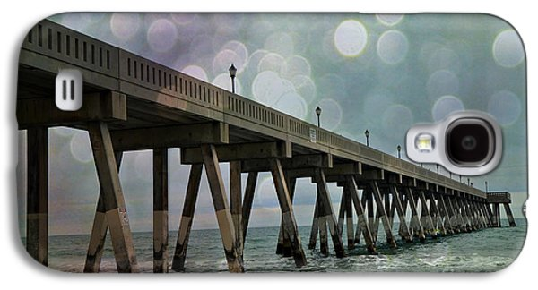 Ocean Art Photography Galaxy S4 Cases - Oean Pier - Surreal Stormy Blue Pier Beach Ocean Fishing Pier With Bokeh Galaxy S4 Case by Kathy Fornal