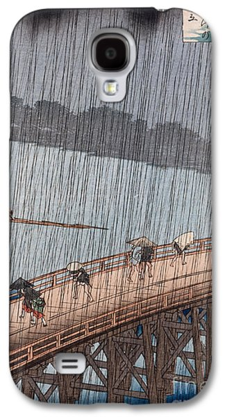 Rain Paintings Galaxy S4 Cases - Ohashi Sudden Shower at Atake Galaxy S4 Case by Ando Hiroshige