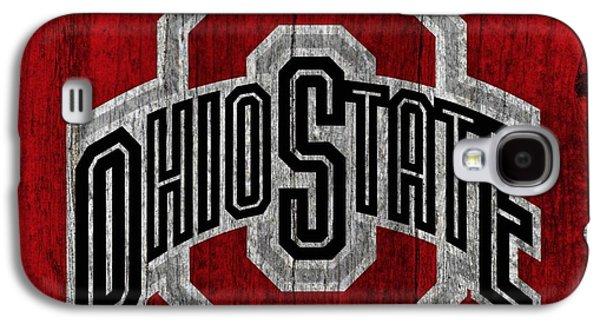 Barn Doors Galaxy S4 Cases - Ohio State University On Worn Wood Galaxy S4 Case by Dan Sproul