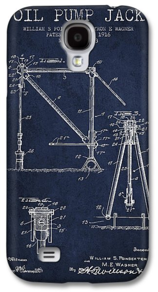 Rigs Galaxy S4 Cases - Oil Pump Jack Patent Drawing From 1916 - Navy Blue Galaxy S4 Case by Aged Pixel