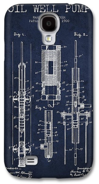 Rigs Galaxy S4 Cases - Oil Well Pump Patent From 1900 - Navy Blue Galaxy S4 Case by Aged Pixel