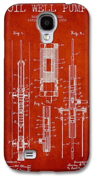 Rigs Galaxy S4 Cases - Oil Well Pump Patent From 1900 - Red Galaxy S4 Case by Aged Pixel