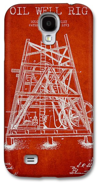 Rigs Galaxy S4 Cases - Oil Well Rig Patent from 1893 - Red Galaxy S4 Case by Aged Pixel