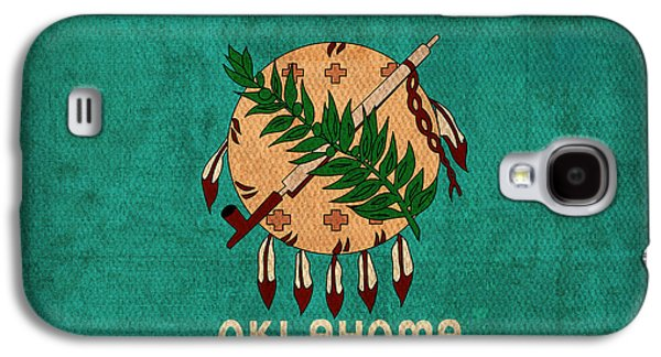 Oklahoma State Flag Art On Worn Canvas Galaxy S4 Case by Design Turnpike