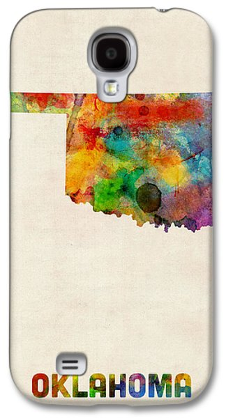 Cartography Digital Art Galaxy S4 Cases - Oklahoma Watercolor Map Galaxy S4 Case by Michael Tompsett