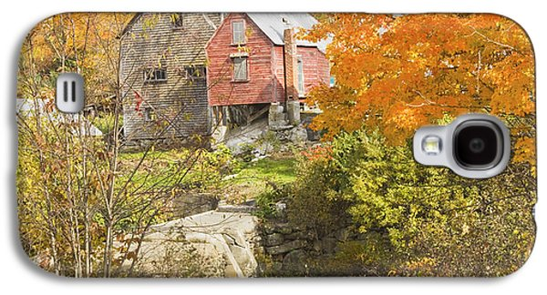 Old Maine Barns Galaxy S4 Cases - Old Barn And Dam In Autunm Vienna Maine Galaxy S4 Case by Keith Webber Jr