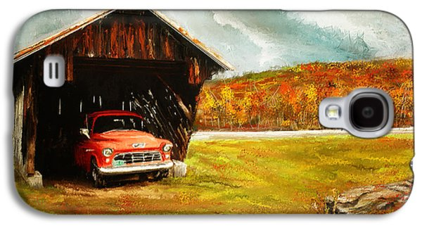 Farm Scene Galaxy S4 Cases - Old Barn and Red Truck Galaxy S4 Case by Lourry Legarde