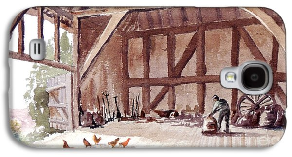 Old Barns Paintings Galaxy S4 Cases - Old Barn At Amberley Sussex Galaxy S4 Case by Bill Holkham