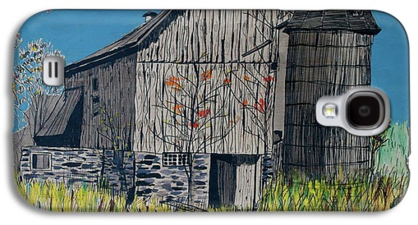 Old Barn Drawing Galaxy S4 Cases - Old Barn Galaxy S4 Case by Linda Simon