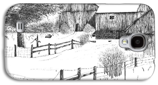 Barn Pen And Ink Galaxy S4 Cases - Old Barn Galaxy S4 Case by Rahul Jain