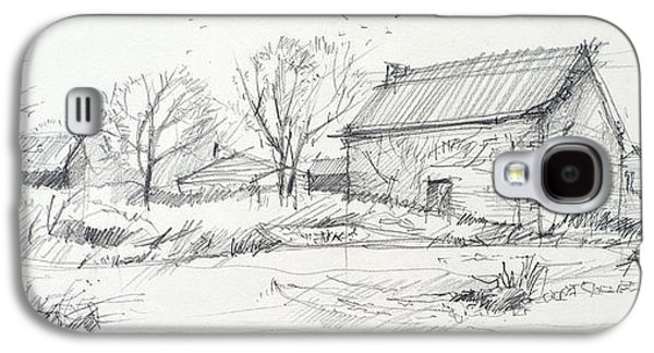 Old Barn Drawing Drawings Galaxy S4 Cases - Old barn sketch Galaxy S4 Case by Peut Etre