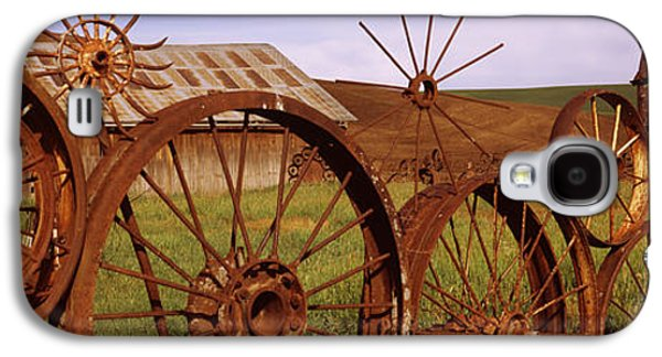 Built Structure Galaxy S4 Cases - Old Barn With A Fence Made Of Wheels Galaxy S4 Case by Panoramic Images