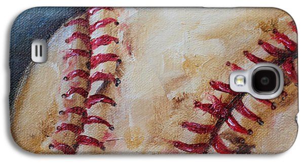 Red Sox Paintings Galaxy S4 Cases - Old Baseball Galaxy S4 Case by Kristine Kainer