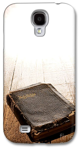 Bible Photographs Galaxy S4 Cases - Old Bible in Divine Light Galaxy S4 Case by Olivier Le Queinec