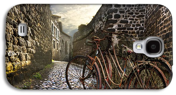 Landscapes Photographs Galaxy S4 Cases - Old Bicycles on a Sunday Morning Galaxy S4 Case by Debra and Dave Vanderlaan