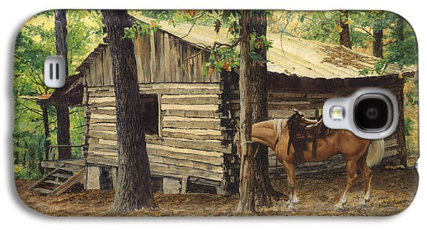 Log Cabin - Back View - At Big Creek Galaxy S4 Case by Don  Langeneckert
