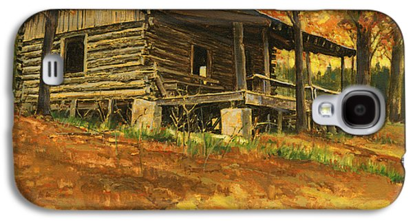 Cabin Paintings Galaxy S4 Cases - Old Cabin in Autumn Galaxy S4 Case by Don  Langeneckert