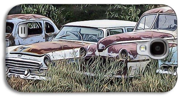 Creepy Digital Art Galaxy S4 Cases - Old Car Graveyard Galaxy S4 Case by Richard Farrington