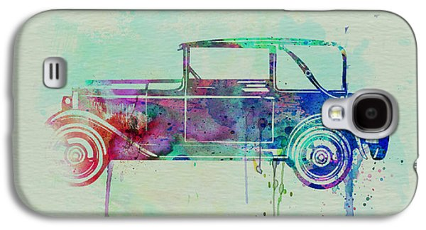 Old Car Drawings Galaxy S4 Cases - Old car watercolor Galaxy S4 Case by Naxart Studio