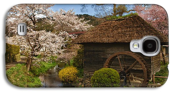 Quaint Photographs Galaxy S4 Cases - Old Cherry Blossom Water Mill Galaxy S4 Case by Sebastian Musial