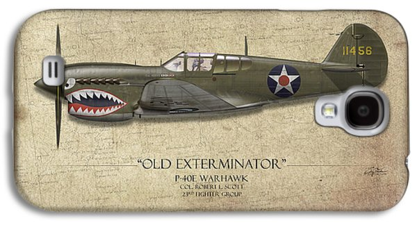 P-40 Galaxy S4 Cases - Old Exterminator P-40 Warhawk - Map Background Galaxy S4 Case by Craig Tinder