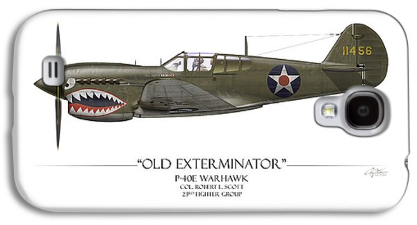 P-40 Galaxy S4 Cases - Old Exterminator P-40 Warhawk - White Background Galaxy S4 Case by Craig Tinder