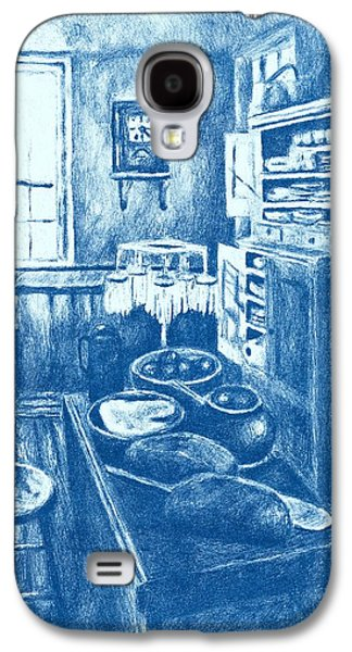 Interior Still Life Drawings Galaxy S4 Cases - Old Fashioned Kitchen in Blue Galaxy S4 Case by Kendall Kessler