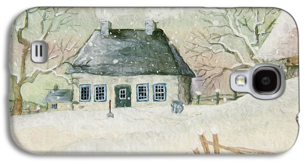 Quiet Time Galaxy S4 Cases - Old house in the snow/ painted digitally Galaxy S4 Case by Sandra Cunningham
