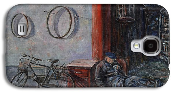 Occupy Beijing Galaxy S4 Cases - Old Man and His Bike Galaxy S4 Case by Xueling Zou