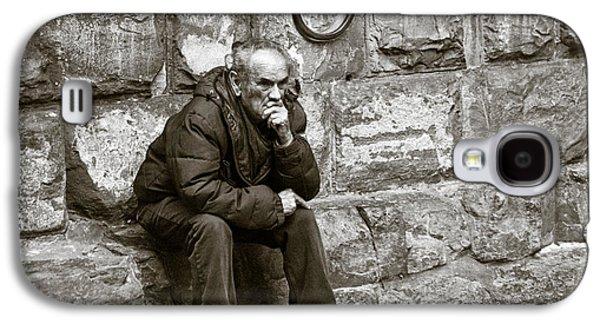 Person Galaxy S4 Cases - Old Man Pondering Galaxy S4 Case by Susan  Schmitz