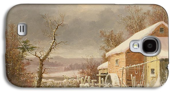 Old Barns Paintings Galaxy S4 Cases - Old Mill in Winter Galaxy S4 Case by George Henry Durrie