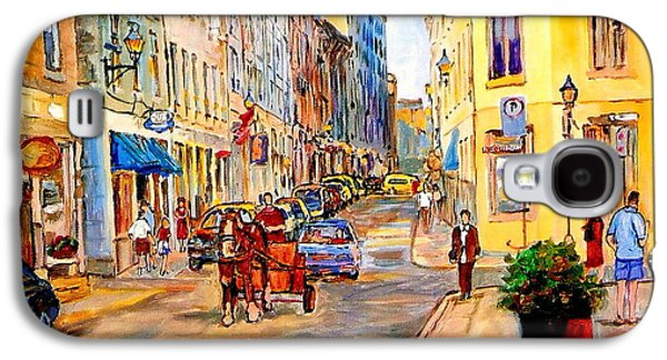 Montreal Streetscenes Paintings Galaxy S4 Cases - Old Montreal Paintings Youville Square Rue De Commune Vieux Port Montreal Street Scene  Galaxy S4 Case by Carole Spandau