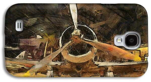 Gear Mixed Media Galaxy S4 Cases - Old Plane In The Hangar Galaxy S4 Case by Dan Sproul