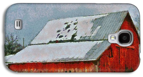 Red Barn In Winter Galaxy S4 Cases - Old Red Barn In Winter Galaxy S4 Case by Dan Sproul