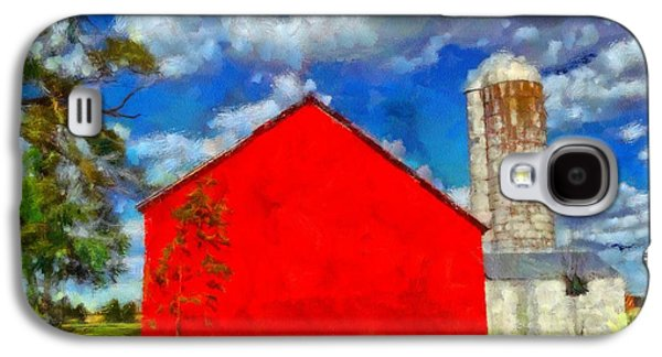 Old Barns Paintings Galaxy S4 Cases - Old Red Barn Summer Day Galaxy S4 Case by Dan Sproul