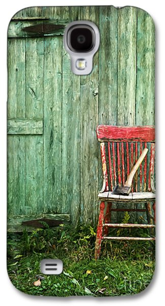 Chair Galaxy S4 Cases - Old red chair near a barn/digital oil painting Galaxy S4 Case by Sandra Cunningham